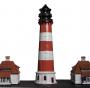 """Leuchtturm """"Westerheversand"""" mit beiden Häusern"""